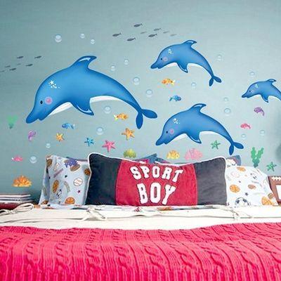 夏日海洋鱼海豚墙贴自粘浴室卫生间幼儿园游泳馆防水墙贴纸可移除