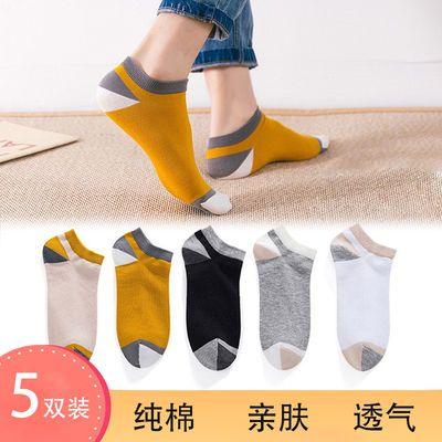 春夏季纯棉袜子男士拼接短袜隐形船袜短袜运动浅口袜子女透气吸汗