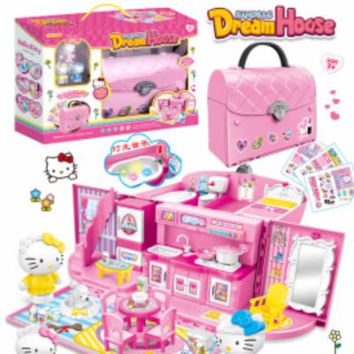hellokitty仿真厨房玩具女孩儿童过家家玩具厨房卧室甜心手提包包