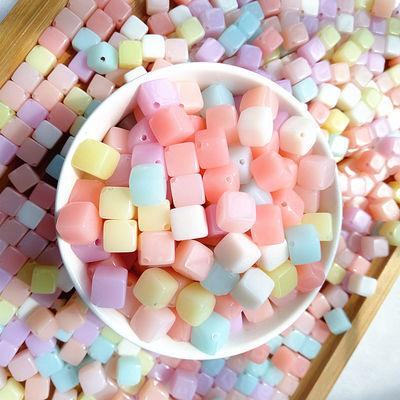 半斤-1斤diy韩版散珠亚克力珠果冻色小方块饰品配件儿童DIY配件