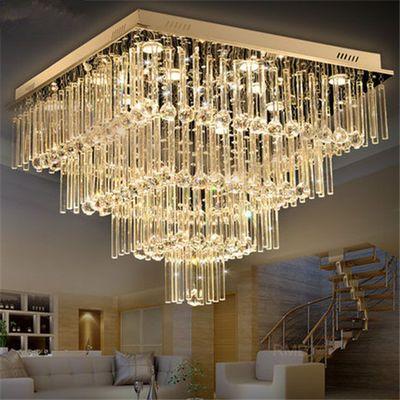 大气吸顶客厅灯现代简约餐厅灯温馨卧室灯LED水晶灯方形客厅灯