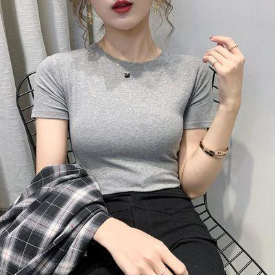 实拍2020夏新款 纯棉白色t恤女短袖修身洋气ins潮黑色紧身上衣�B