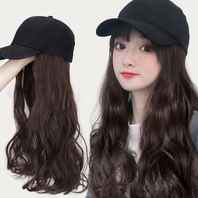 棒球渔夫帽子带假发一体女夏天羊毛长卷发大波浪网红自然直全头套