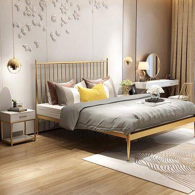 2020新款现代简约铁艺床1.2米单人1.8双人床金色儿童公主床包邮