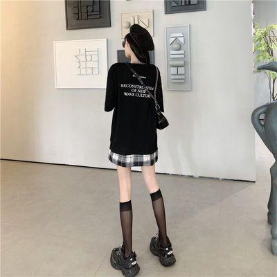 夏季2019新款假两件拼接印花短袖T恤女宽松情侣嘻哈原宿BF风上衣