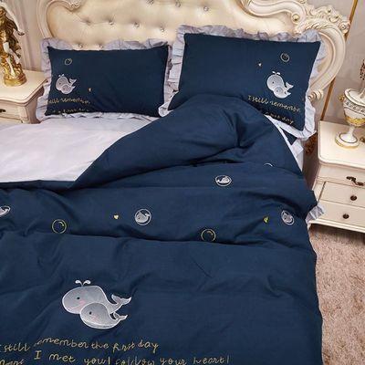 韩版全棉床裙四件套床罩双人被罩简约纯色公主风纯棉床套被套少女