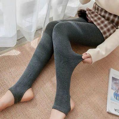 2020年棉踩脚打底裤女春秋薄款加绒竖条纹显瘦高腰弹力外穿连脚裤