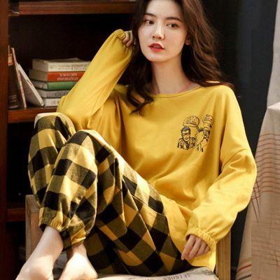 睡衣女春秋夏季长袖睡衣女士套装学生大码可爱莫代尔可外穿家居服