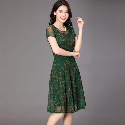 中老年大码连衣裙50-60岁妈妈气质高贵台湾网纱弹力中年高档裙夏