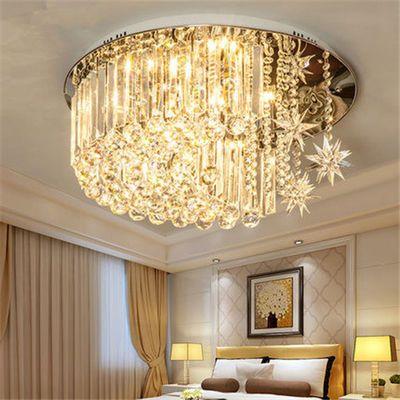 圆形水晶卧室灯简约现代客厅个性创意led餐厅灯温馨浪漫水晶灯具