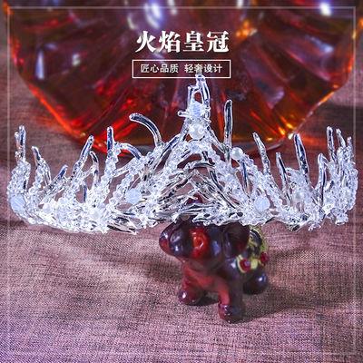 巴洛克黑色复古新娘皇冠生日成人礼物女神头饰品大气网红公主王冠