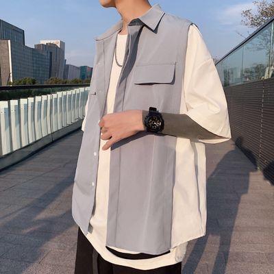 夏季假两件拼接短袖ins衬衫男韩版潮流五分袖宽松潮牌半袖衬衣男