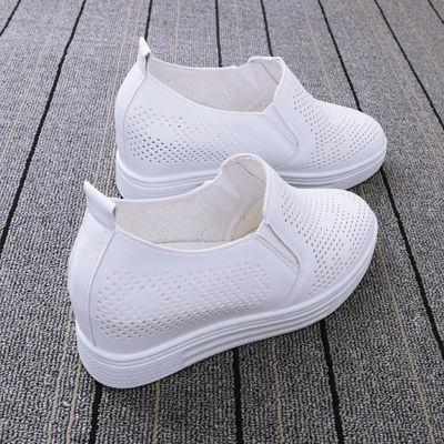 2020夏季一脚蹬内增高小白鞋女鞋透气镂空网鞋厚底网面休闲鞋单鞋