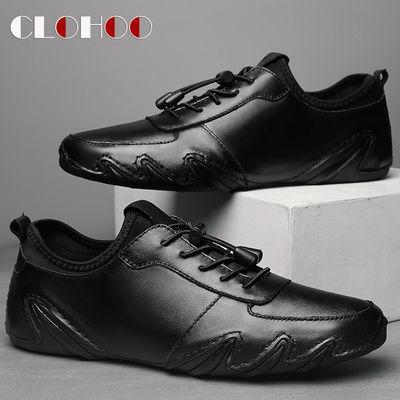 CLOHOO【真牛皮】流行男鞋透气八爪鱼皮鞋男休闲皮鞋男豆豆鞋子男
