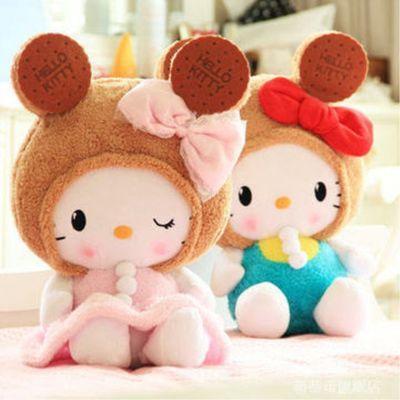 可爱hellokitty凯蒂猫饼干公仔女生节日礼物娃娃kt猫毛绒玩具玩偶