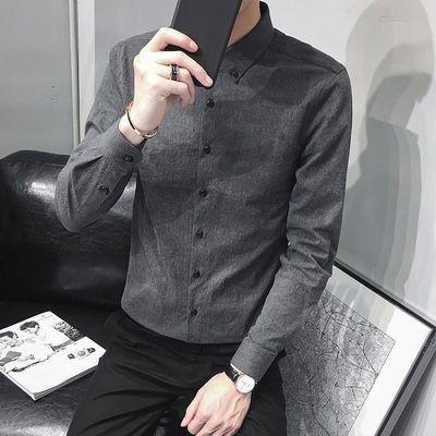 长袖衬衫男休闲修身衬衣潮流韩版男款帅气免烫灰色寸衣商务男装