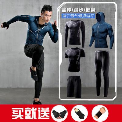 健身运动套装篮球训练跑步服房背心速干紧身衣裤男女短袖三五件套