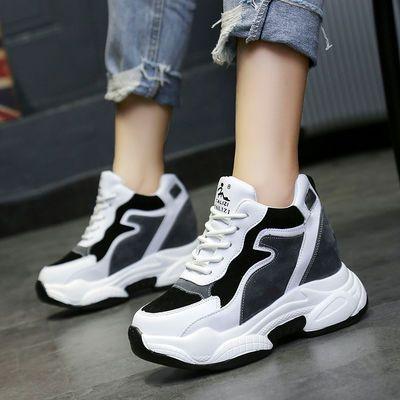 黑白色运动鞋女春秋2019新款韩版内增高女鞋10厘米软底休闲旅游鞋