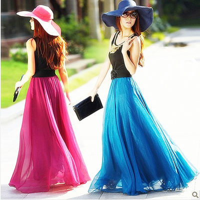 春季半身裙春夏双层印花半身长裙彩色职业显瘦夏季裙摆粉色大摆裙