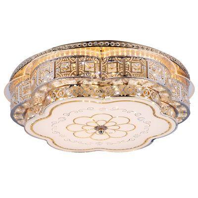 LED吸顶灯圆形欧式灯卧室灯具客厅儿童房间金色水晶灯走廊过道灯