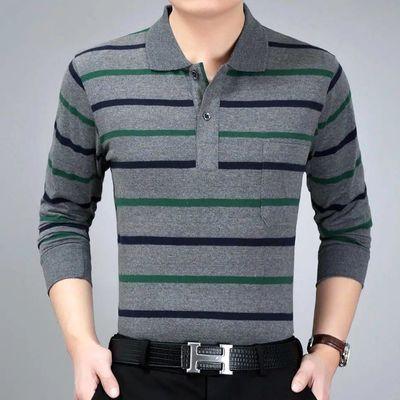 春秋季中年男士长袖T恤宽松翻领爸爸装打底衫大码男装条纹POLO衫