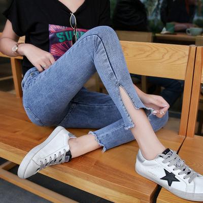 好质量九分裤开叉裤脚牛仔裤女2020春季显瘦中腰弹力浅蓝色小脚裤