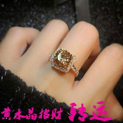 黄水晶戒指女欧美复古宫廷风公主方宝石锆石夸张招财转运食指饰品