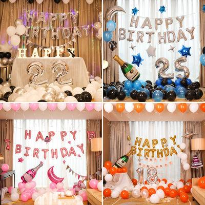 气球批发生日派对装饰套装男女生生日场景气球墙儿童周岁装饰布置