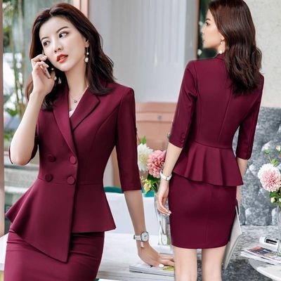 职业装女装套装2020春夏韩版时尚正装套裙气质修身西装外套工作服
