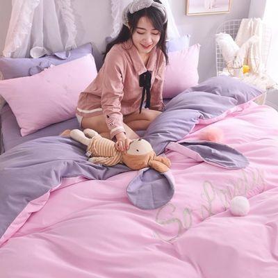网红款宿舍公主款床裙四件套全棉纯棉被套床单少女心可爱床上用品