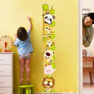 卡通动物墙贴纸房间墙壁贴画小孩宝宝测量身高贴可移除身高尺墙贴