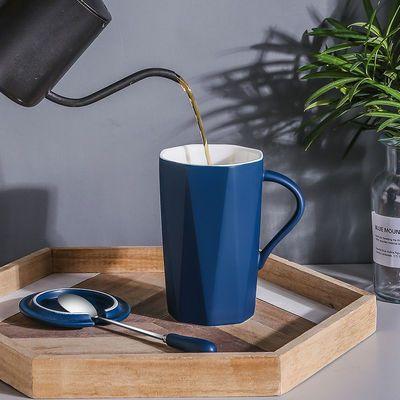 新款陶瓷马克杯带盖勺ins杯子女学生韩版男家用创意早餐咖啡杯大