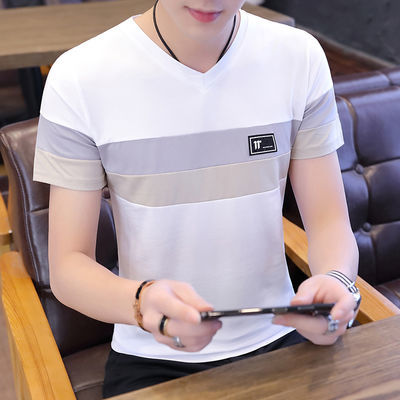 短袖t恤男纯棉v领体恤宽松半截袖韩版拼接打底衫百搭中青少年上衣
