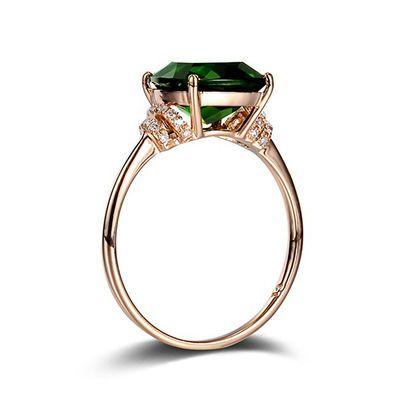 祖母绿戒指女碎钻玫瑰绿碧玺戒指水晶宝石指环显细显白透辉玉石