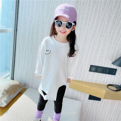 童装2020女童春季韩版破洞笑脸长袖T恤 儿童洋气中长款不规则上衣