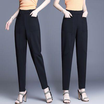 七分/九分/长裤子女2020夏天宽松薄款哈伦裤西裤黑色直筒休闲女裤