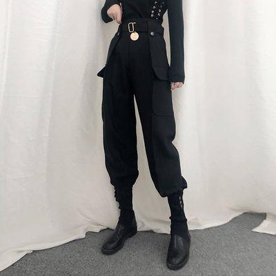 高腰束脚工装裤女哈伦裤2020春夏秋新款韩版宽松长裤子