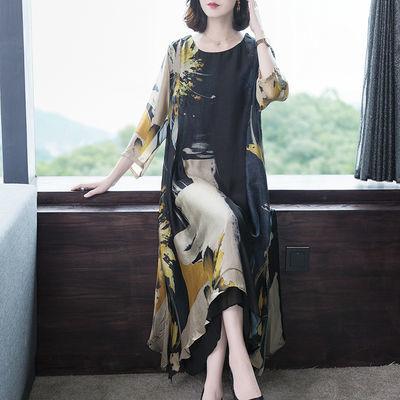 反季真丝连衣裙女夏2020新款贵夫人高档气质大码宽松遮肚子中长款