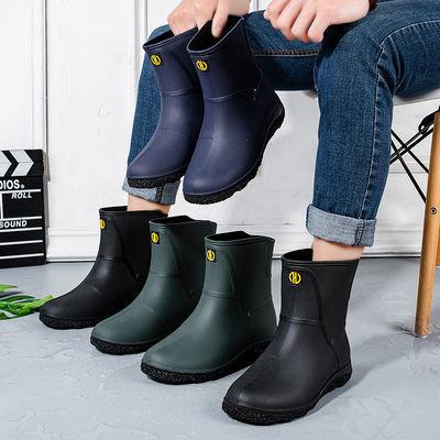 雨鞋男中筒防滑防水鞋工作时尚短筒雨靴加绒保暖胶鞋男士套鞋