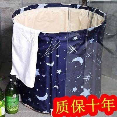 加厚沐浴折叠浴桶家用成人儿童塑料泡澡桶圆形大号免充气缸游泳池