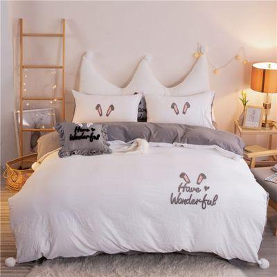 网红款四件套全棉纯棉水洗棉床单公主风被套儿童床上用品宿舍春季