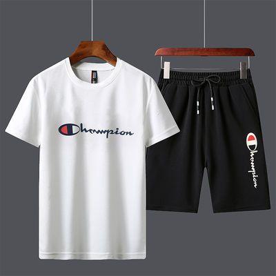 【品牌优先】哲爱步运动套装夏季透气速干短袖短裤运动服潮休闲DD