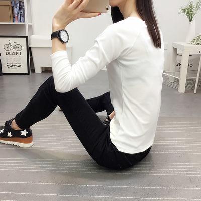 【双十二特价】V领白色长袖T恤女装简约修身体恤韩版上衣打底衫