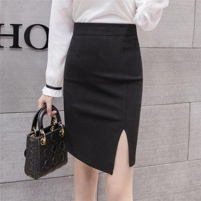 开叉包臀裙半身裙黑色修身短裙职业一步裙2020夏装新款百搭包裙子