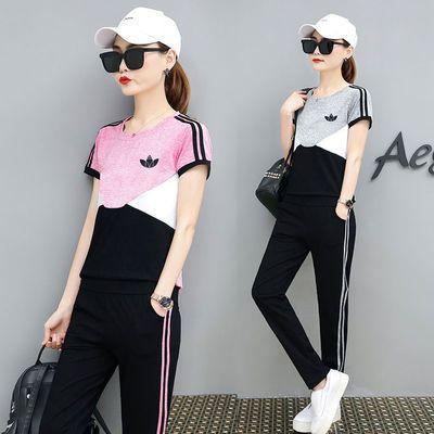 夏装2020新款运动套装女纯棉时尚夏季装名牌运动服休闲跑步两件套