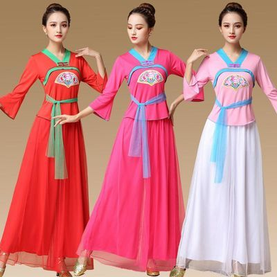 2020新款民族风秧歌舞广场舞服装套装盘扣表演舞台服饰舞蹈服装