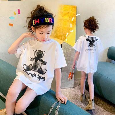 女童短袖T恤2020春夏装韩版新款中大童中长款洋气纯棉儿童上衣潮