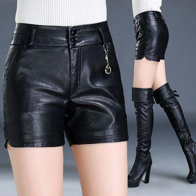 新款高腰女式皮短裤显瘦大码韩版修身百搭靴裤包邮外穿PU皮短裤
