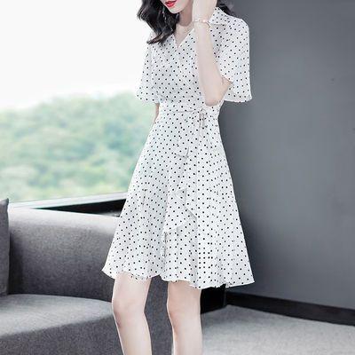小个子真丝连衣裙女夏2020新款 高档气质桑蚕丝波点印花修身a字裙