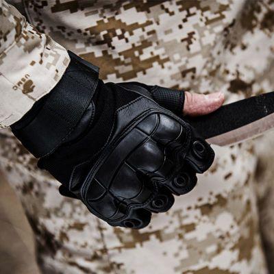 春夏战术作战指挥格斗护手防滑健身透气骑车户外防晒长半指手套男